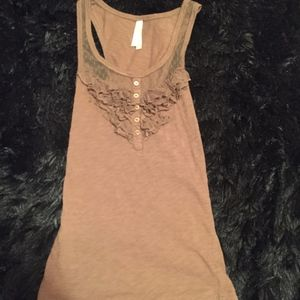 Tank Top with Lace Accent Along Neckline
